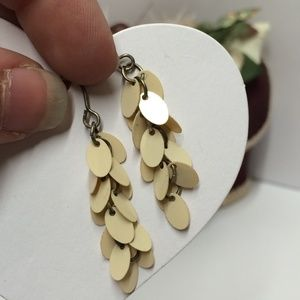 Vintage Cream Sequins Dangle Earrings